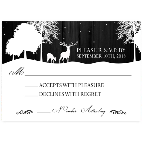 Elegant Starry Night Deer Wedding RSVP Card
