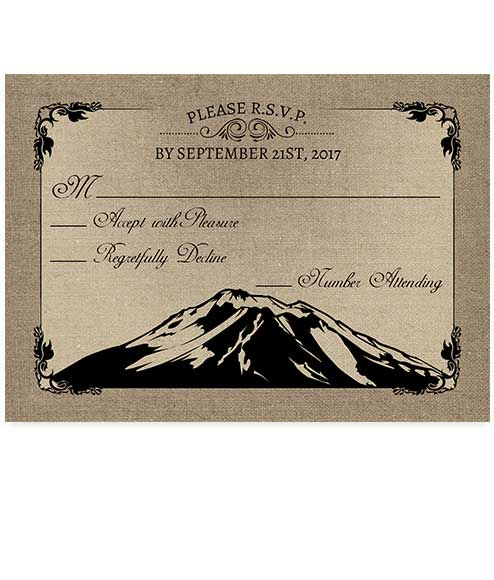 Mountain Themed Burlap Wedding RSVP Card