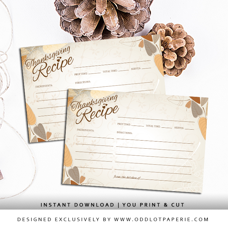 Printable Thanksgiving Dinner Recipe Cards