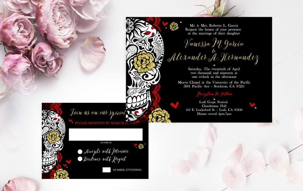 calaveras wedding invitation