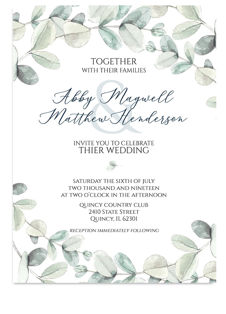 Botanical Eucalyptus Wedding Invite