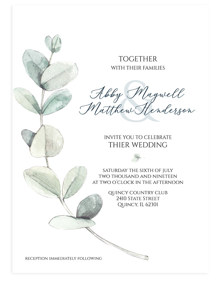 Eucalyptus Watercolor Wedding Invite