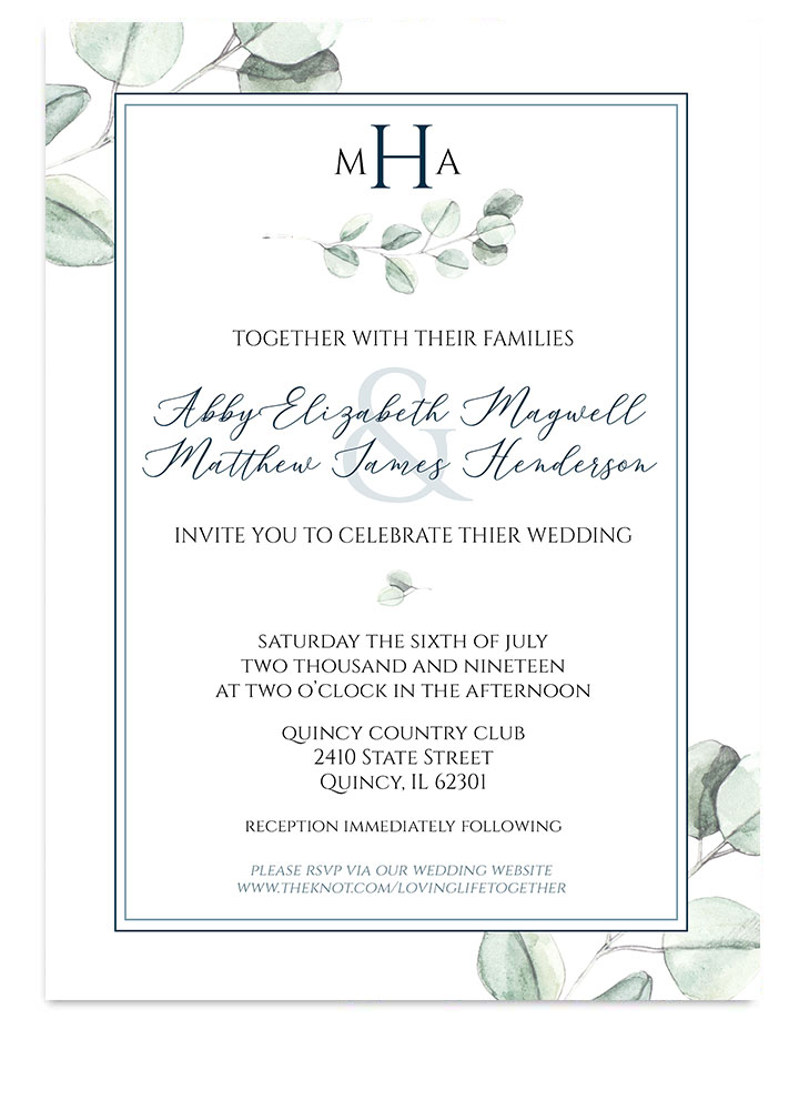 Modern Watercolor Eucalyptus Wedding Invite from Odd Lot Paperie