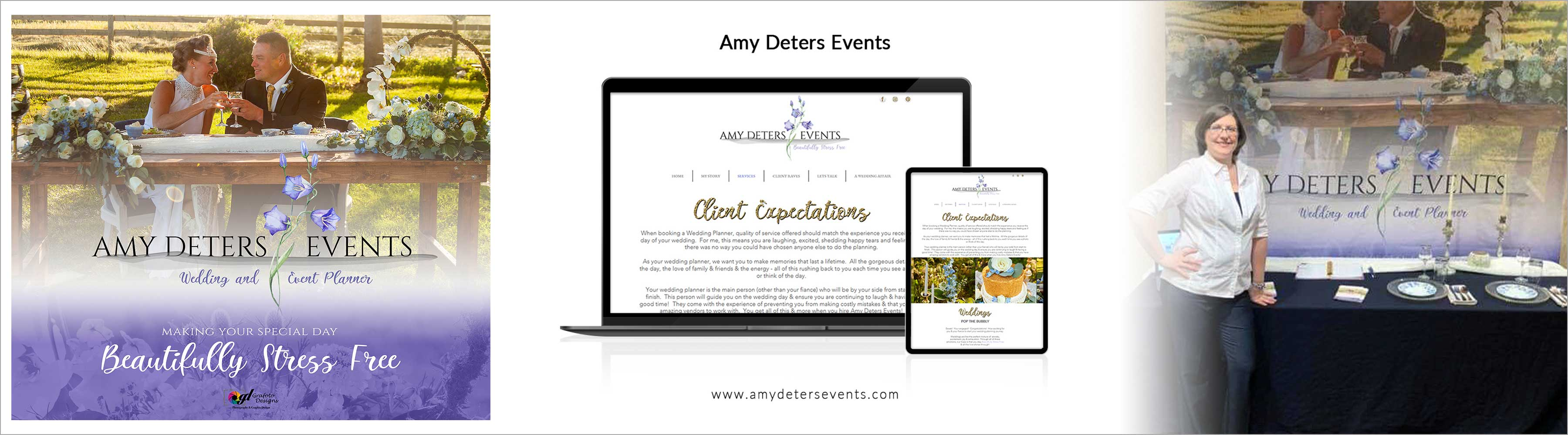 Amy Deters Events Tradeshow Banner and Website Design