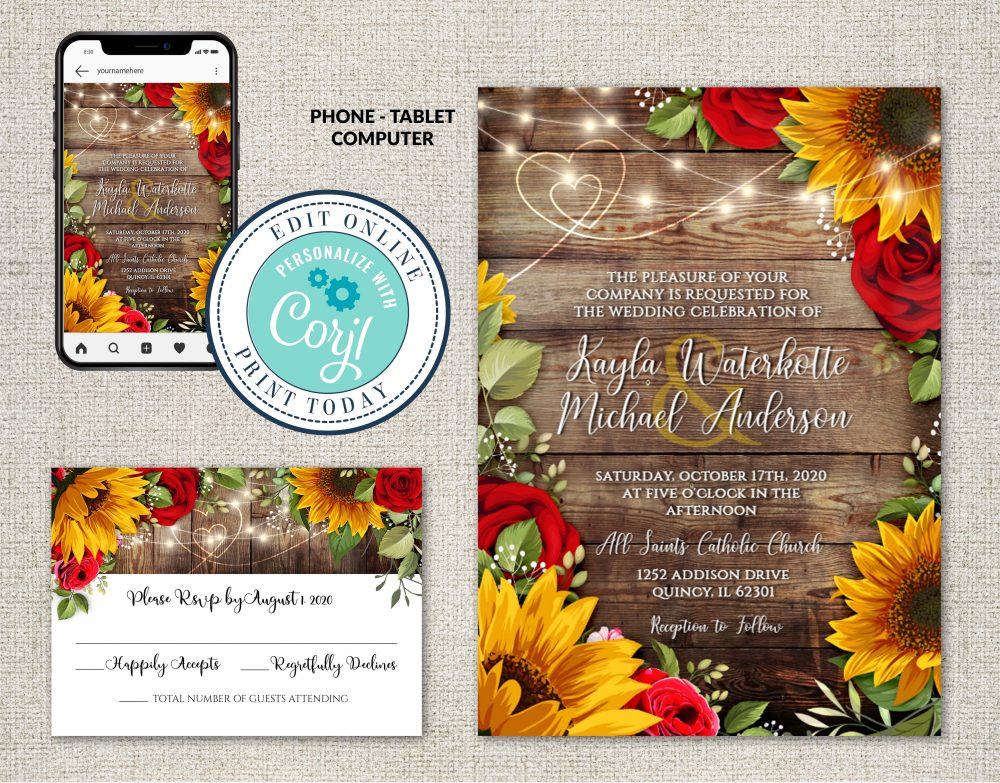 Sunflowers & Roses Invitation Suite