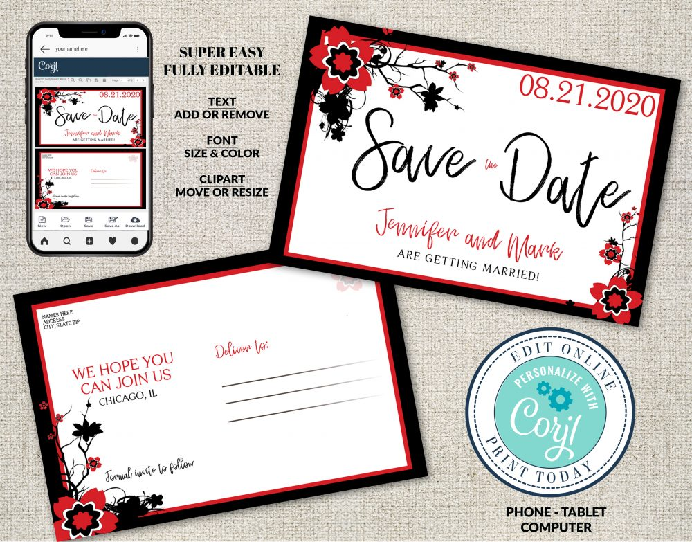 Cherry Blossom Save the Date Postcard