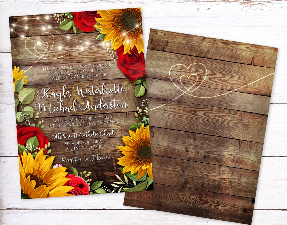 Sunflower and Roses Rustic Wedding Invitation