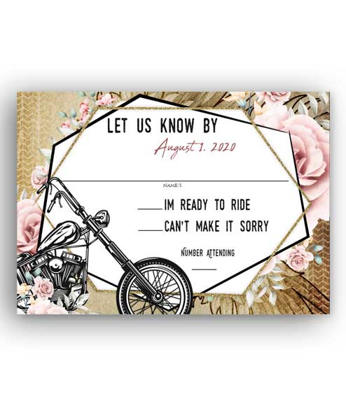 Rustic Motorcycle Biker Floral Printed wedding stationery
