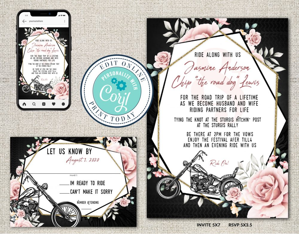 Elegant Motorcycle Biker Floral DIY Wedding Invitation Suite