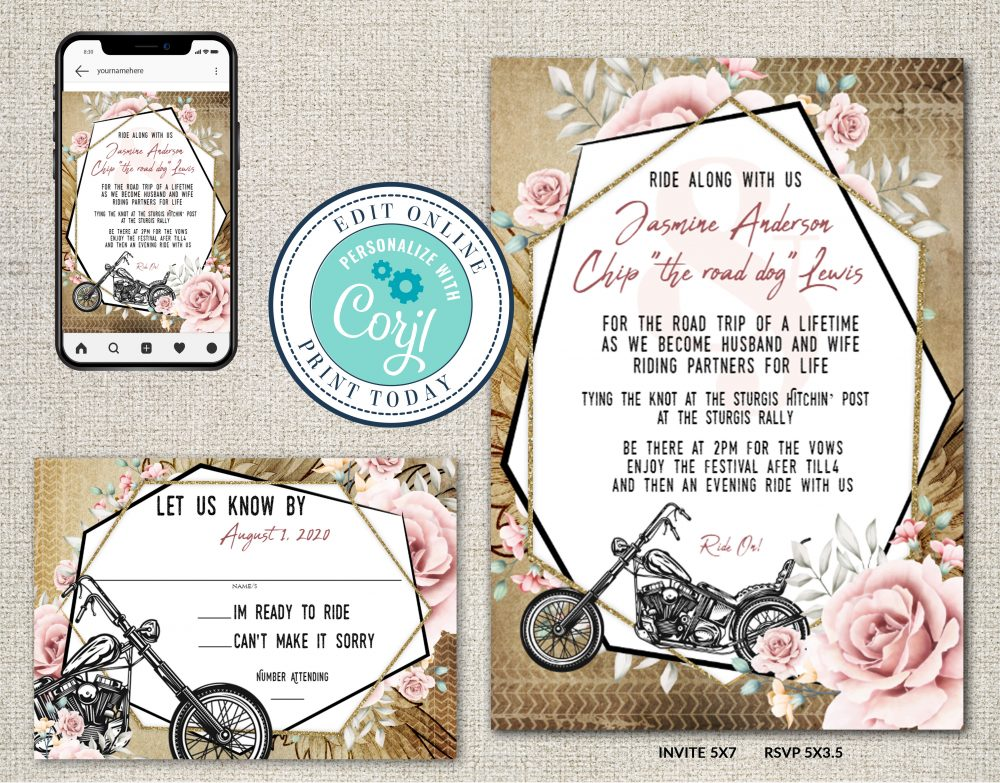 Rustic Motorcycle Biker Floral Wedding INvitation Suite