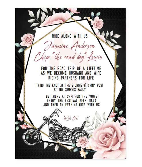 Elegant Motorcycle Biker Wedding Invitation