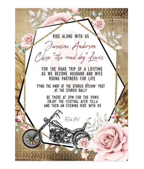 Rustic Motorcycle Biker Floral Printed Wedding Invitation
